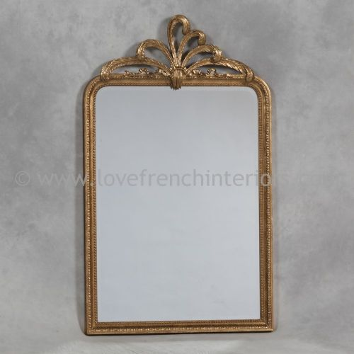 Antique Gold Wall Mirror with Plume Crest